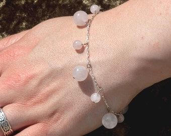 Sterling silver and rose quartz gemstone charm bracelet - beaded bracelet - Pink gemstone bracelet - January birthstone - healing bracelet