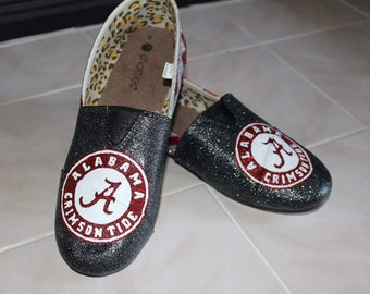 University of Alabama Inspired Hand Painted Sparkly Canvas Shoes| Crimson Tide | Red and Black| Glitter Shoes