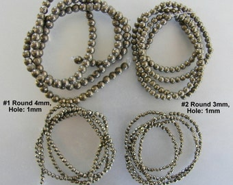 SALE.  Natural Pyrite, Faceted, Round  Beads Strands,  2mm, 2.5mm, 3mm,  4mm,