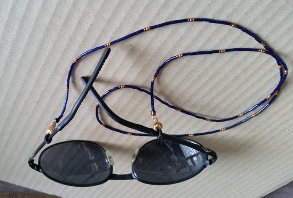 "HANDMADE BLUE BEADED Eyeglass Cord. 2 Variations: Cobalt, Copper, Gold or Irridescent Peacock & Silver. 30"" Length. Blue Sunglass Chain."