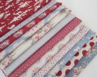 TILDA  'Sweetheart ' Quilting and Craft Floral Spot Forest Red Blue 100% Cotton Fabric Fat Quarter Bundle x 12