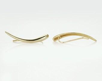 Gold Ear Cuff - Statement Ear Pin , Ear Climber , Ear Sweep , Wrap Earrings , Ear Cuff Earring , Trending Jewelry