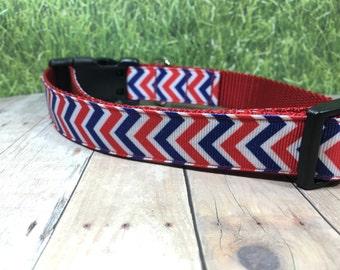 "The Gendry | Designer 1"" Width Dog Collar | CupcakePups Collars | Red Blue Chevron - Medium/Large Dog Collar"