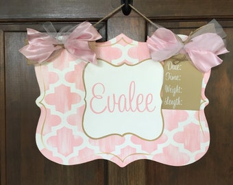 Hand Painted Wooden Birth Announcement name sign for baby with Quatrefoil design