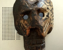 Mexica/Aztec Tribal Skull Mask Carving – Ceremonial - Hand-Carved – Polychrome - Guatemala