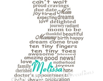 Mom To Be Art, Nursery Birth Art, Pregnancy Word Art, Baby Shower Gift, Personalized Word Art Typography,  PRINTABLE DIGITAL FILE