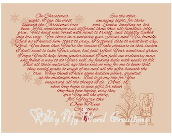 Christmas Decoration Art, Christmas Heart Santa Word Art Typography,  Christmas Poem Word Art, Instant Download, PRINTABLE DIGITAL FILE