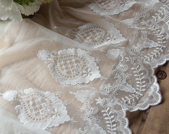 White Floral Lace Trim Embroidery Tulle Lace Trim 12.2 Inches Wide 1 Yard L0409