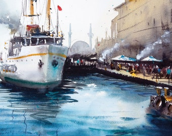 Istanbul original watercolor painting