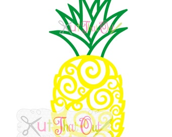 EXCLUSIVE Swirl Scroll Pineapple SVG and DXF File