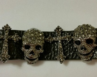 Black Skull and Cross Leather Bracelet