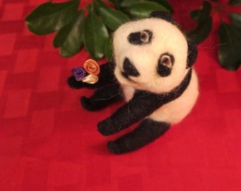 Needle Felt Panda Sculpture