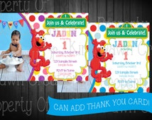 ELMO Sesame Street Invitation. Digital Delivery. Custom!