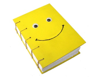 Kawaii yellow smiley journal - Handmade handstitched journal - Coptic stitch sketchbook - Emoticon  googly eyes journal -