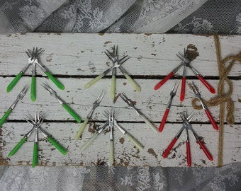 Vintage cocktail forks/metal with plastic/red/green/cream/Ecru/years 60-70/Cocktail sticks/Retro/Mini forks/Oma