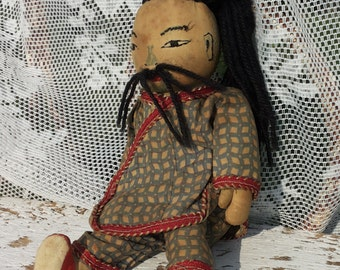 Chinese Rags Doll * black hair + moustache/Vintage Children's toys/dolls collection/checkered/Retro/Oriental/China/Mongolia