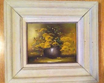 Vintage Retro Signed Framed OIL on 10x8 Canvas Still Life PAINTING Yellow Flowers
