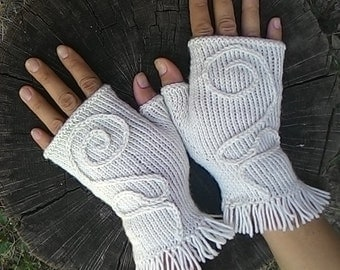 knitted white mitts, gloves, fingerless mitts, fingerless knitted gloves, women's gloves
