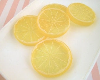Realistic Lemon Slice Cabochons Fruit Slices Citrus, #810