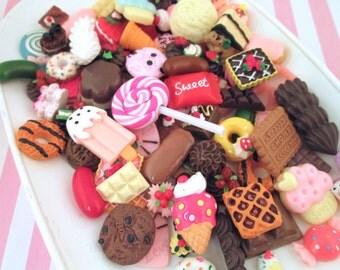Miniature Kawaii Dessert Cabochons 50 Piece Assorted Pastry Decoden Cabs