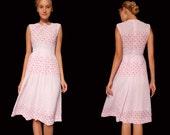 Pink sleeveless love dress,japanese summer dress,pink cocktail dress,printed tea dress,sleeveless vintage dress,party dress,evening dress