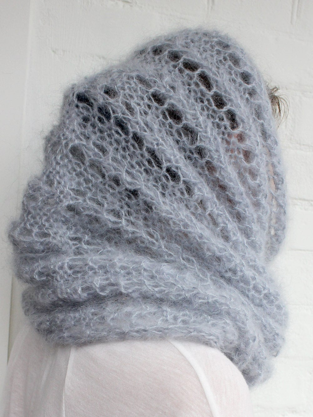 Infinity Scarf Knitting Pattern Mohair : Winter Knit Scarf mohair cowl infinity knitted by ...