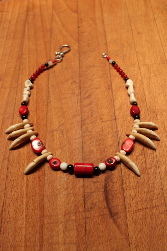 "Wolf Tooth Necklace 20"" Wolf Necklace Wolf Tooth Wolf Coral Turquoise Red White Jade Black Agate African Native American Custom Healing"
