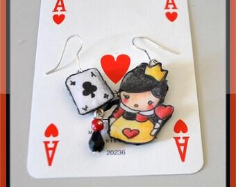 Queen of heart earrings - cute - hand drawing - Alice in wonderland - Disney earrings