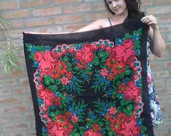 Free shipping! Woolen vintage shawl Ukrainian shawl Russian shawl