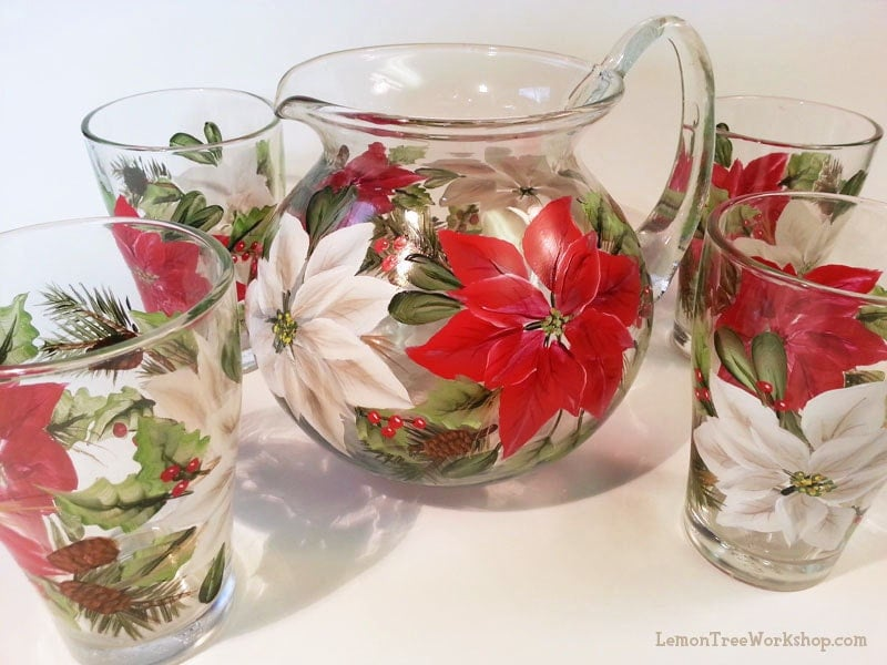 Poinsettia christmas holiday hand painted glass pitcher set for Christmas glass painting