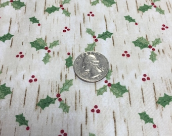 Woodland Chrictmas Holly fabric from Blank By the yard