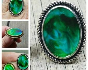 Color Swirl Galaxy Memorial Ring/Memorial Ash Ring/ Pet Memorial