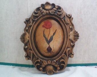 Vintage Chalkware Floral Plaque