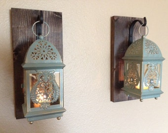 Rustic Owl Lantern Set Wall Decor Rustic Bathroom Decor Wall Sconce Wall
