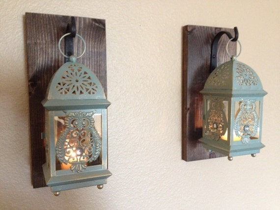Rustic Owl Lantern Set Wall Decor Rustic Bathroom Decor