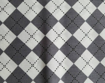 Grey and white argyle pet bandana / Over collar bandana