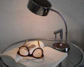 vintage 1960s desk lamp, table lamp, chrome with teak wood decor look