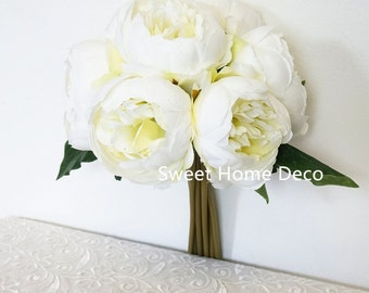 JennysFloweShop 11'' Silk Peony Artificial Flower Bouquet Wedding/Home Decorations (10 Stems/7 Flower Heads) White/Green