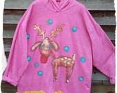 Reindeer Hoodie Fun Hand Painted Sweatshirt Tunic