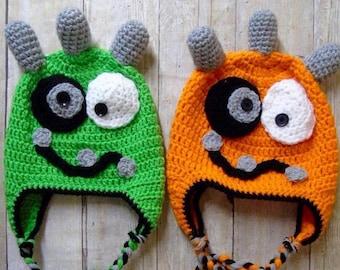 Baby Twins Hats, Newborn Twins Hats, Baby Monster Hat, Newborn Monster Hat, Infant Monster Hat, Monster Photo Prop, Monster Crochet Hat