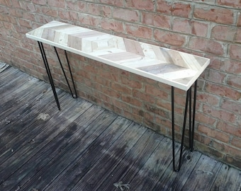 Mirrored chevron style console table with black hairpin legs - Custom lengths and heights available