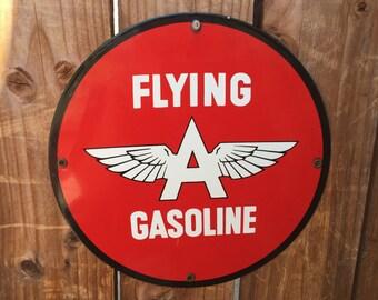 Vintage Flying A Gasoline Round Porcelain Sign