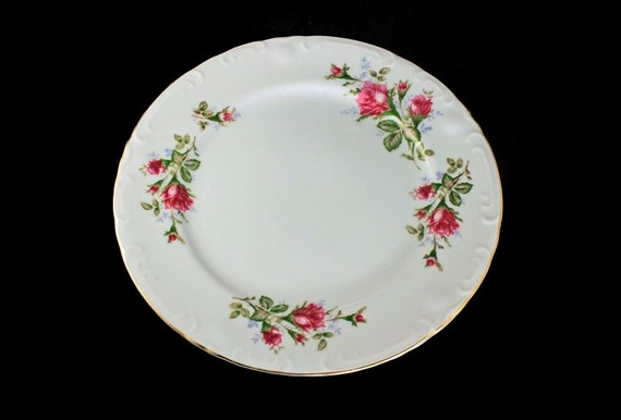Dinner Plates, Grant Crest, Royal Rose, Set of Two, Fine China, Made in Japan, Embossed Edge, Gold Trimmed