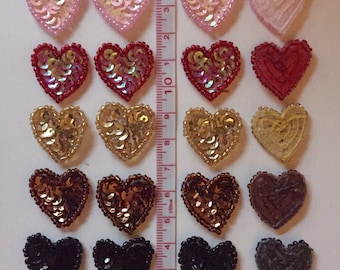 5 Sequin Heart Applique for hair accessories or crafts - multiple colors available