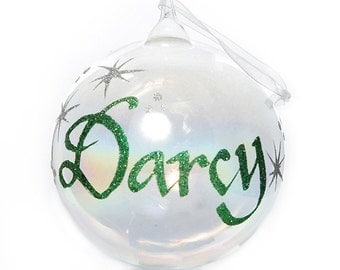 Personalised Iridescent Glass Christmas Bauble - Large