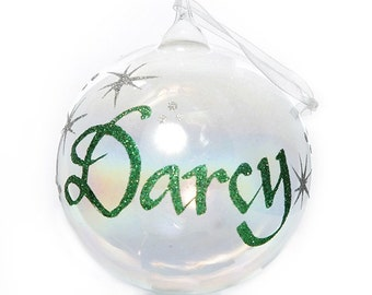 Personalised Iridescent Glass Christmas Bauble - Medium