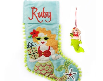Personalised Mermaid Stocking and Decoration Pack