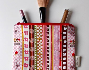 Pink Striped Toiletry Bag, Medium Zipper Pouch, Cosmetics Bag. Makeup Pouch, Pink Pouch. 100% Cotton. Gifts for Her, Stocking Filler.