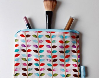 Bright Cosmetic Bag, Medium Makeup Bag, Zipped Pouch. Toiletry Bag, Leaf Pouch. 100% Cotton. Secret Santa, Gift for Her,
