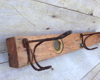 Vintage Level Coat or Towel Rack with Rustic Schoolhouse Hooks